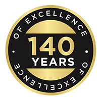 140 Years of Excellence badge