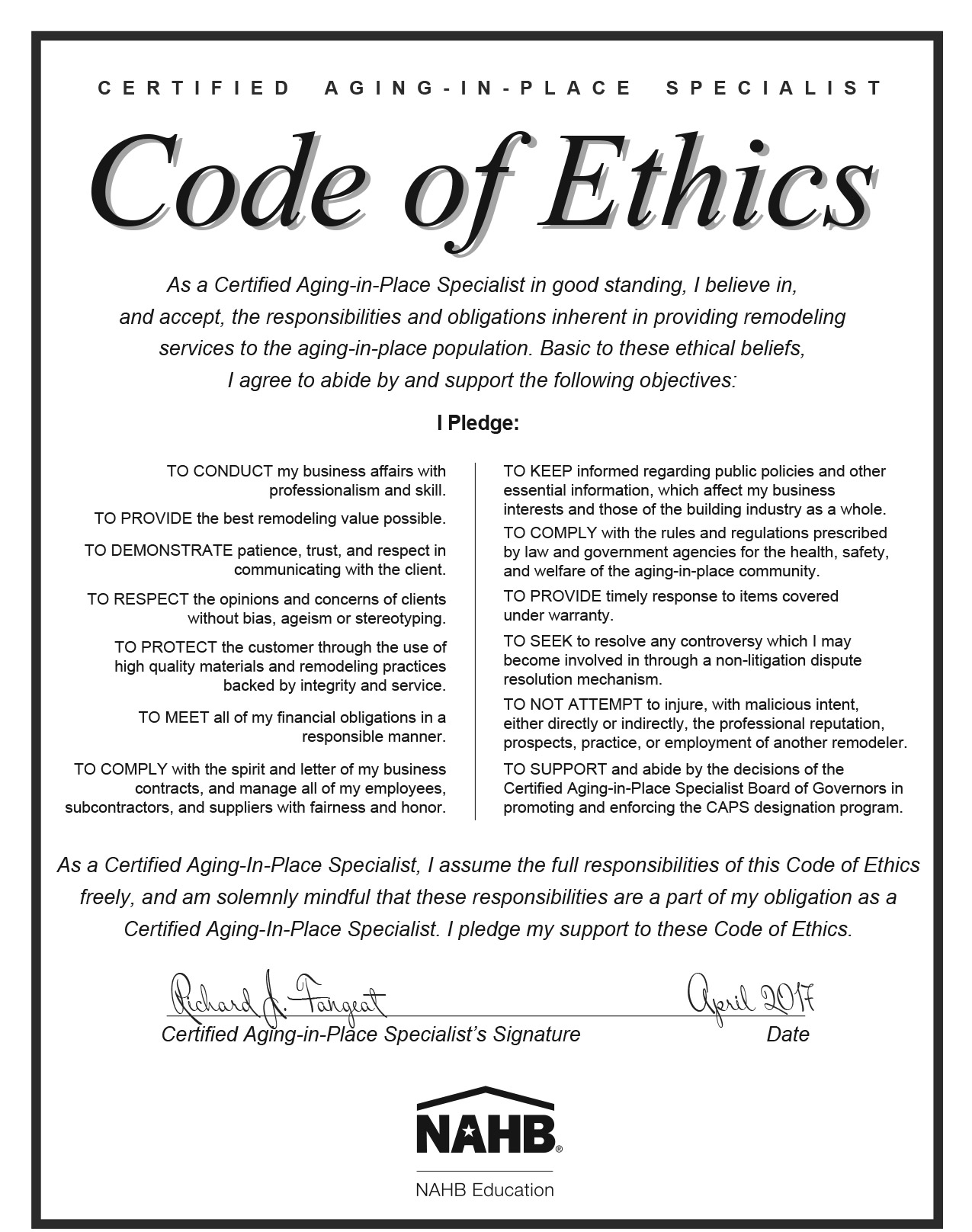 Code of Ethics pledge